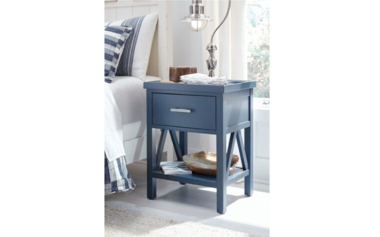 8972-3101 - Lake House Nightstand - blue - single drawer, single shelf - nickel hardware; staged in light-filled child's bedroom with white and blue decor and bedding
