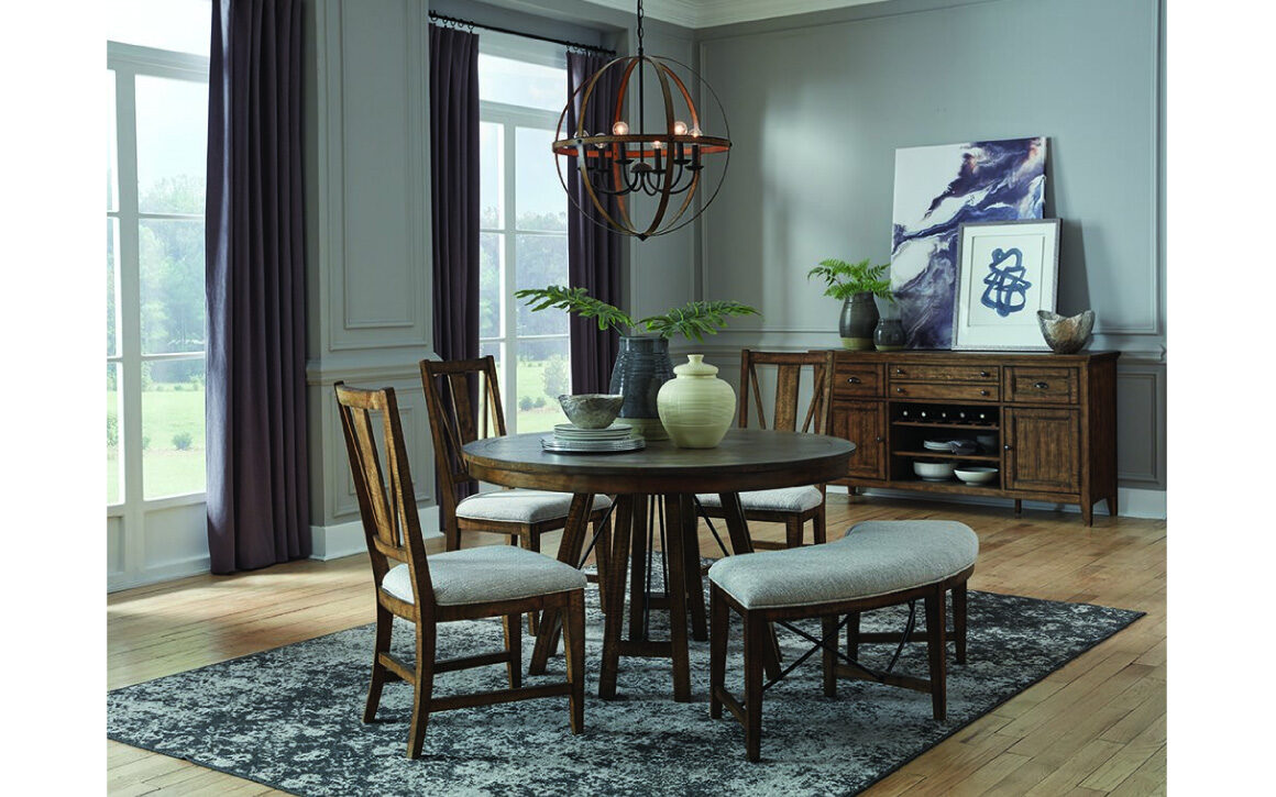 Bay Creek Dining Collection - Magnussen - round dining table, buffet, upholstered dining chairs & dining bench
