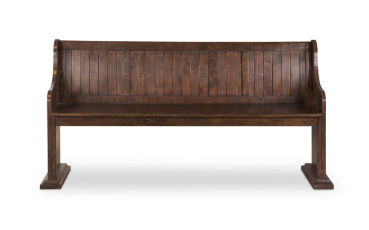 St. Claire Dining Bench - Magnussen - rustic pine finish and church pew style panel back wooden bench