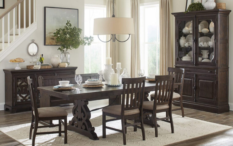 St. Claire Dining Room Collection - Magnussen - Rectangular Dining Table surrounded by Dining Bench, upholstered Side Chairs and decorative Server