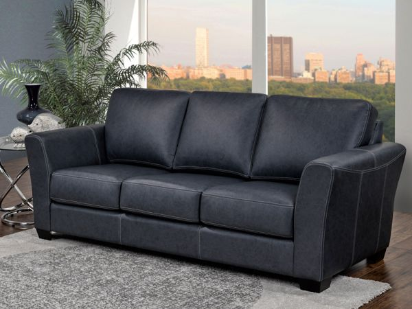 Bayview Sofa from LeatherCraft - upholstered in navy blue leather with contrast stitching