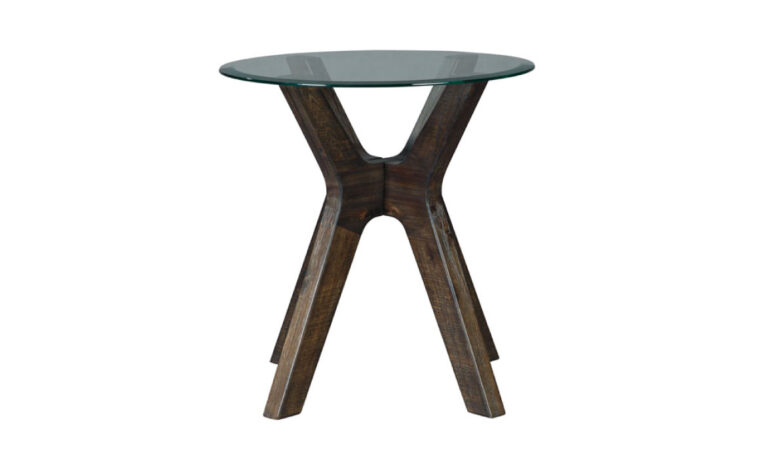 Round end table with glass top side