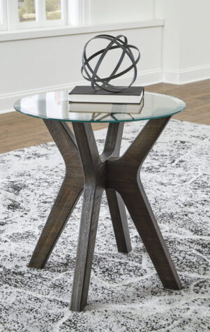Round end table with glass top in living room
