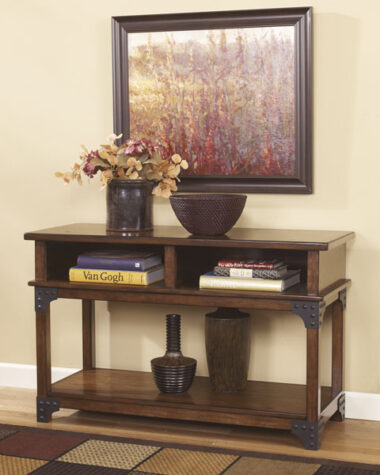 Wood console table with metal brackets