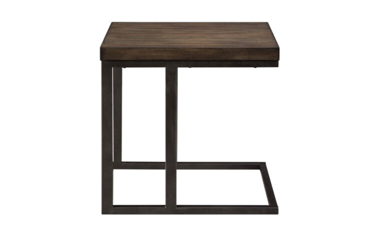 Industrial modern style end table side view