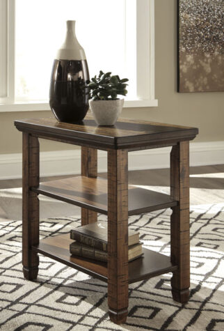 Wood chairside end table in living room
