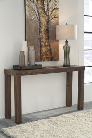 Rustic modern wood console table in living room