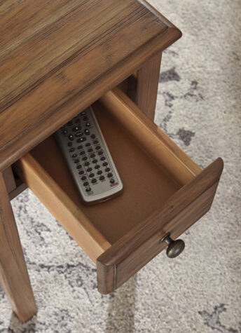 Solid wood chairside end table drawer