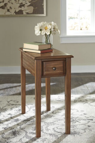 Solid wood chairside end table in living room
