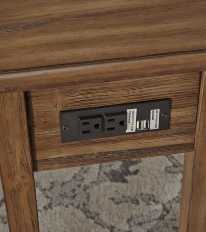 Solid wood chairside end table USB Ports and outlets