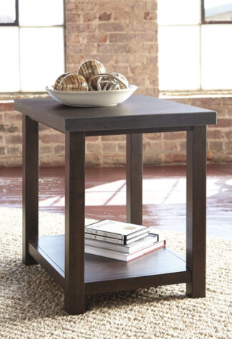 Transitional style brown wood end table in living room
