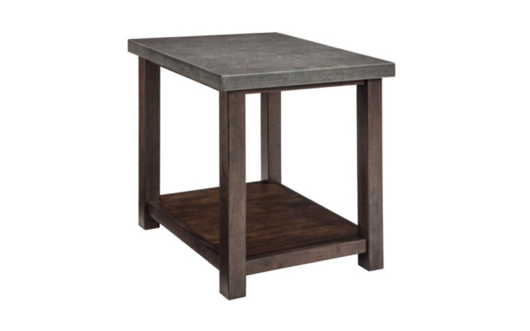Transitional style brown wood end table