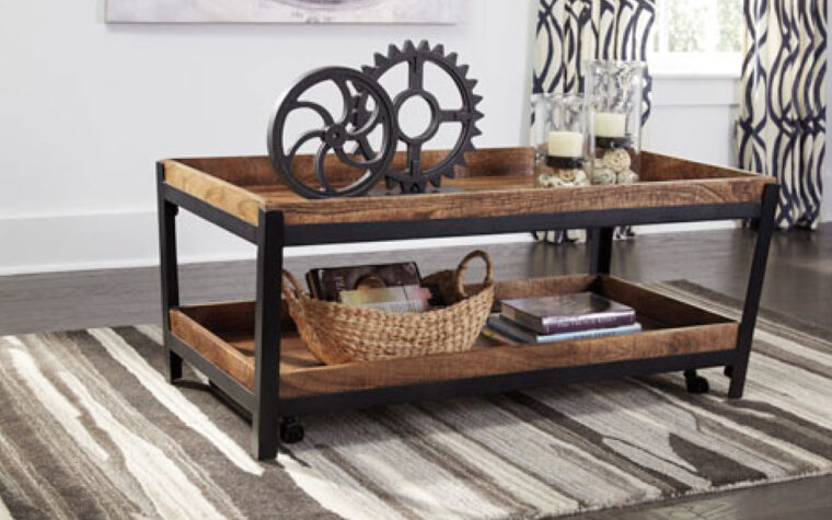 Industrial Style 2-tier cocktail table in livingroom