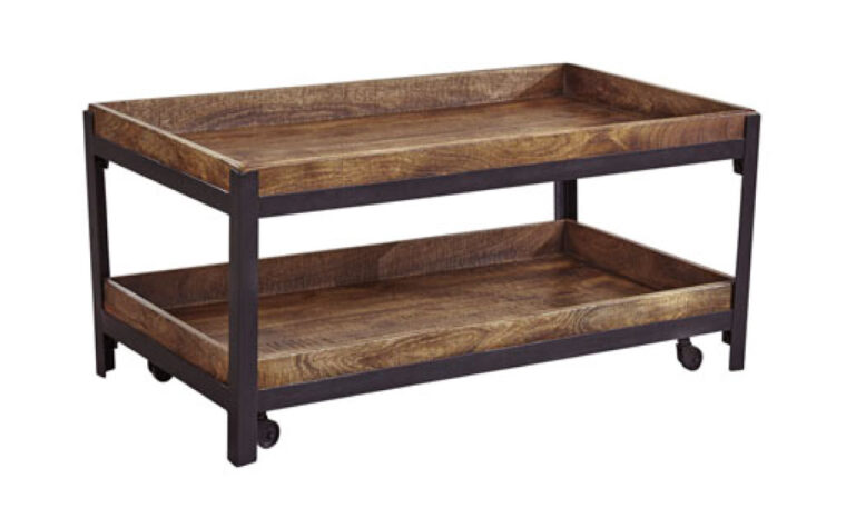 Industrial style 2-tier cocktail table