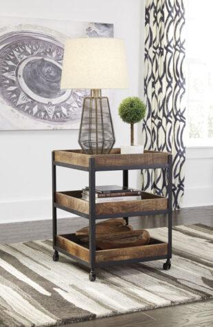 Three level wood end table in livingroom