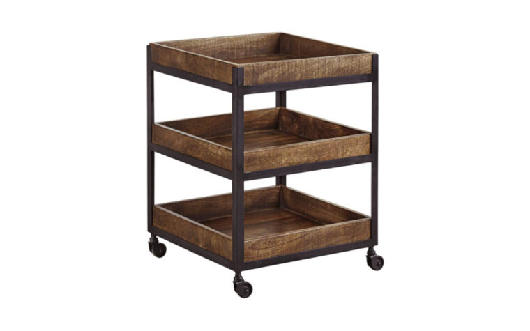 Three level square wood end table