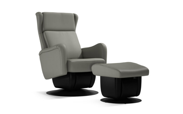 San Fransisco chair and ottoman by Dutalier in grey leather