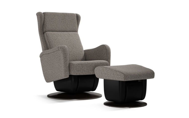 San Fransisco chair and ottoman by Dutalier in grey fabric