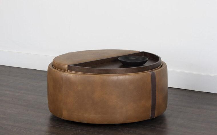 brown leather borelli wheeled storage ottoman lifestyle image