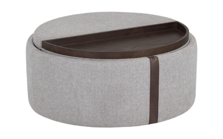 grey borelli wheeled storage ottoman with flippable lid/serving tray