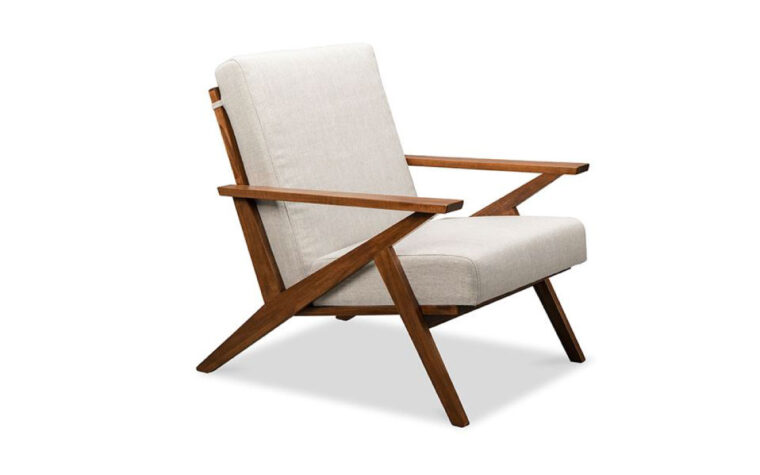 Tribeca Accent chair - mid cenutry modern, wood frame, white cushion