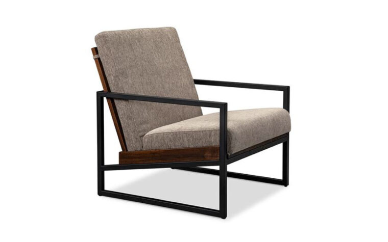 Muskoka accent chair, industrial style accent chair with metal and wood frame and grey cushion