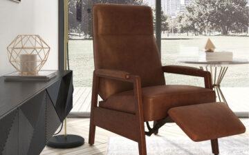scandinavian brown leather recliner