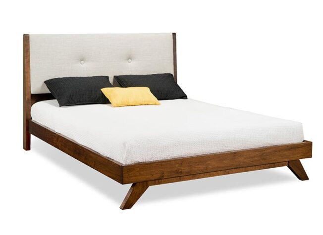 Mid century modern platform bed with wood frame and upholstered headboard