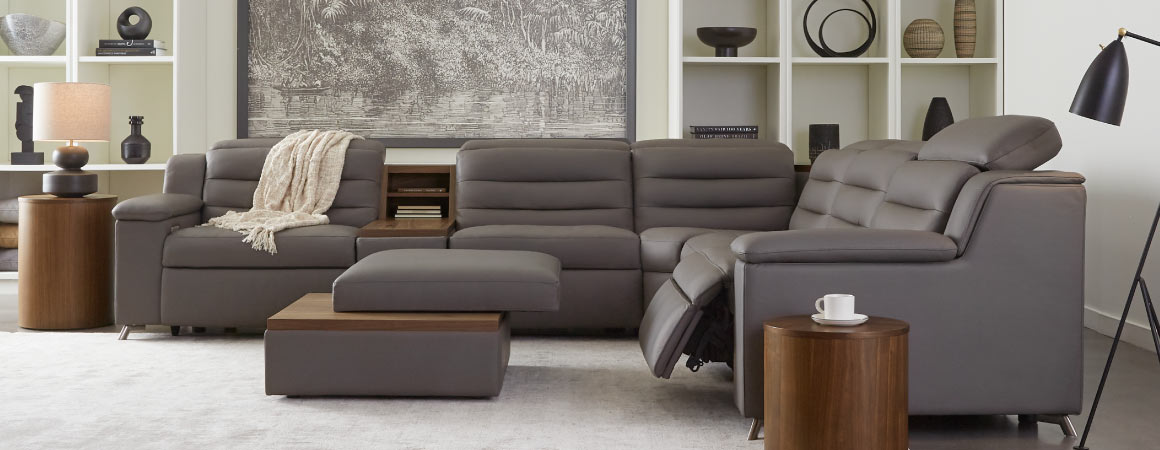 modern luxury sectional with wood accents