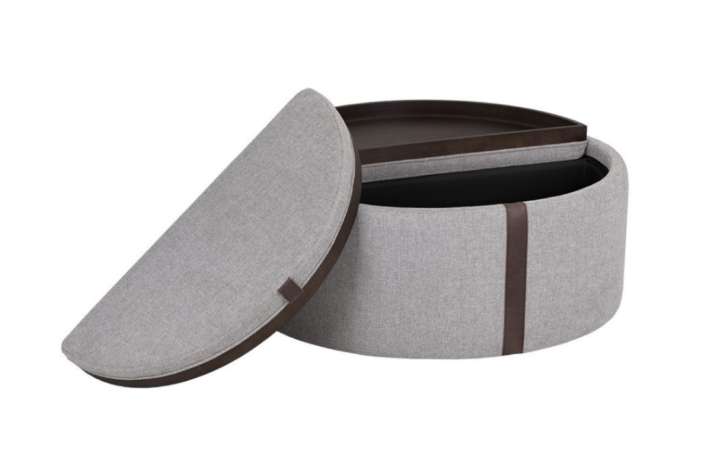 Grey fabric storage ottoman with reversible lid with tabletop on one side