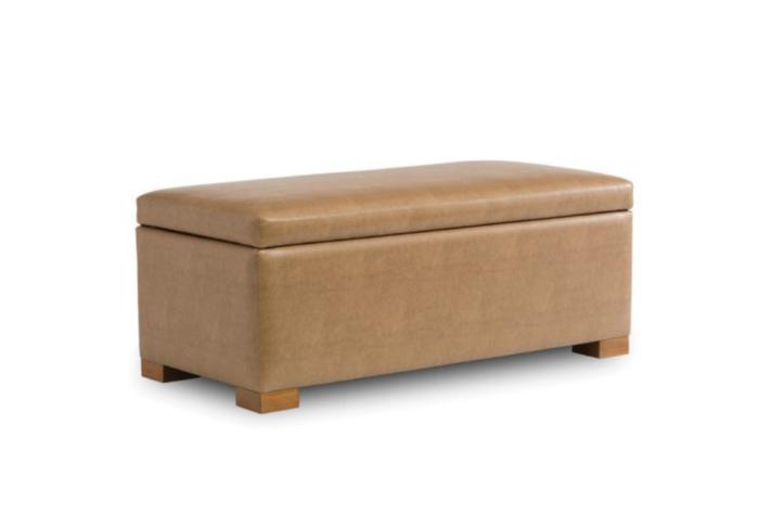 Customizable leather storage bench