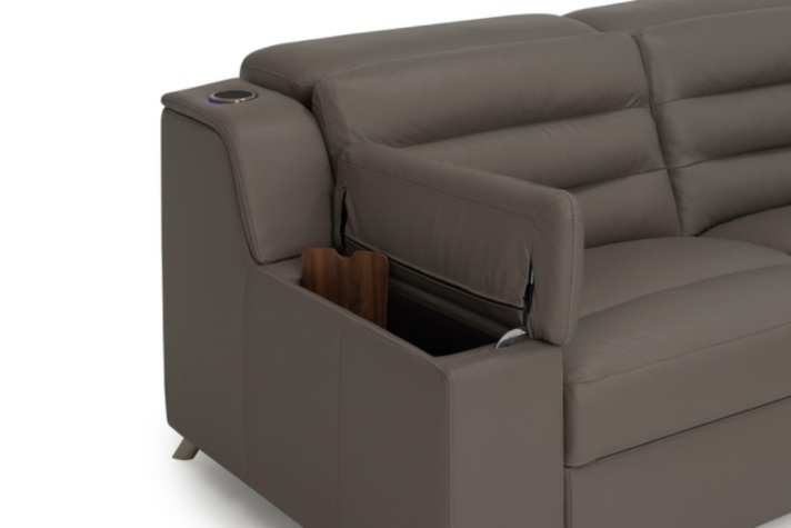 Contemporary sectional arm rest storage with table top insert