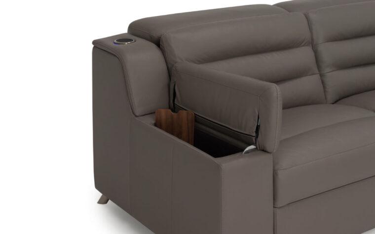 Arm rest storage of dark grey leather sectional