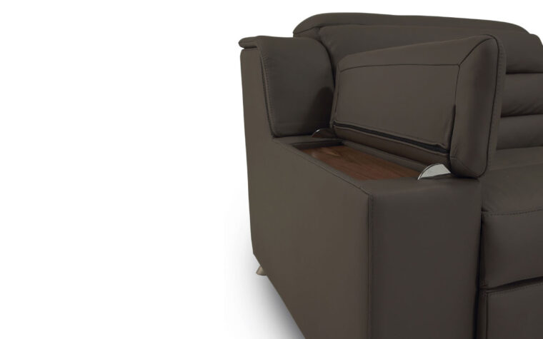 Arm rest storage with removable, wood tabletop
