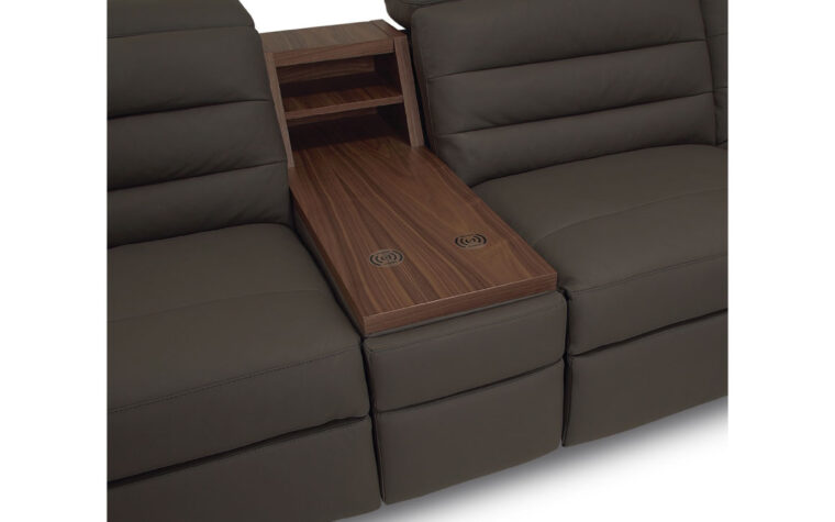 Sectional console with table top, wireless charging, and upholstered drawer. Drawer closed