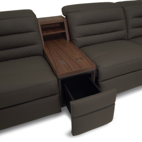 contemporary sectional with tabletop console and hidden storage drawer