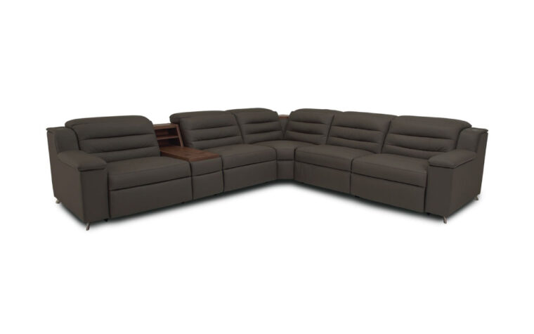 Dark grey leather sectional with tufted back cushions