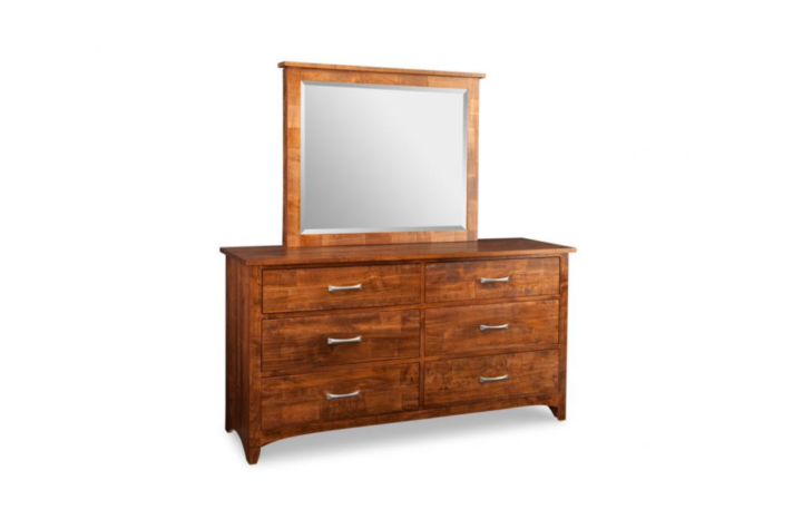 Wood mirror and dresser with hidden jewellery storage drawers in mirror