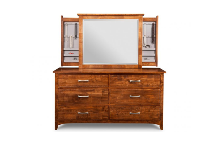 Wood dresser and mirror with open jewellery storage in mirror