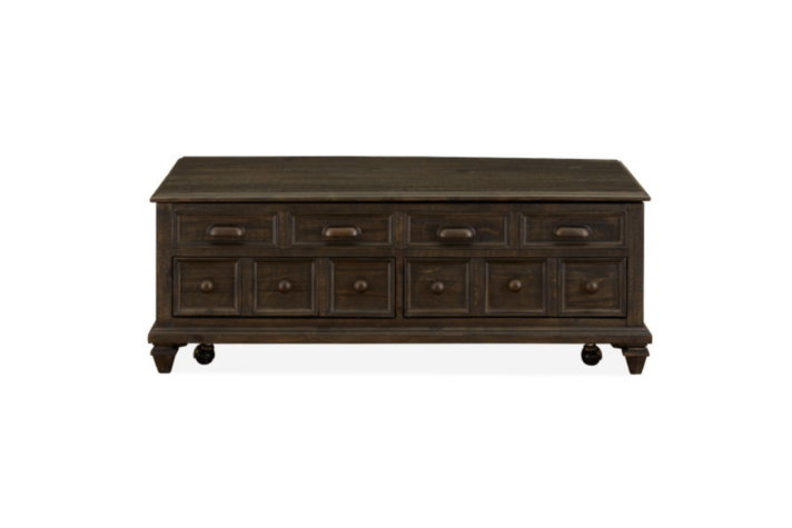 Dark stained, wood cocktail table with faux drawers and lift top