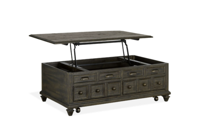 Stained wood cocktail table with lift top open