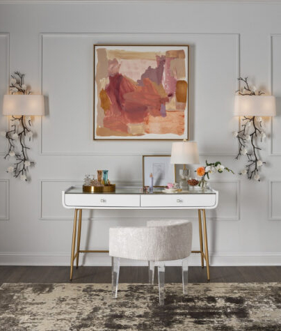 white and gold desk in a small home office