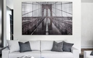 Hanging artwork above a sofa