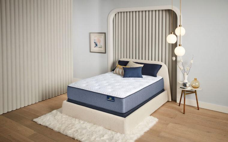 renewed mattress in a grey room