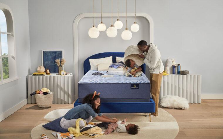 stratosphere serta mattress with children playing