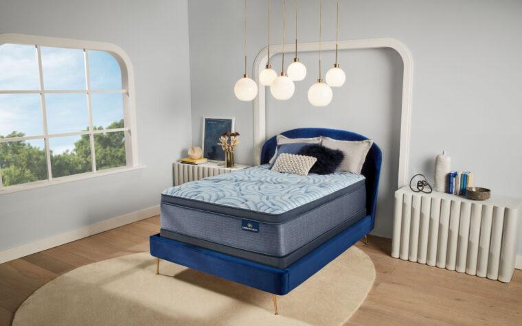 unity mattress by serta in a blue bedroom